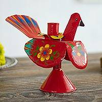 Recycled metal candle holder, 'Floral Peacock in Red' - Recycled Metal Peacock Candle Holder in Red from Peru