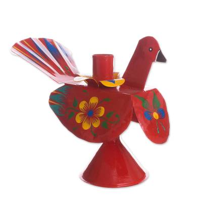 Recycled Metal Peacock Candle Holder in Red from Peru
