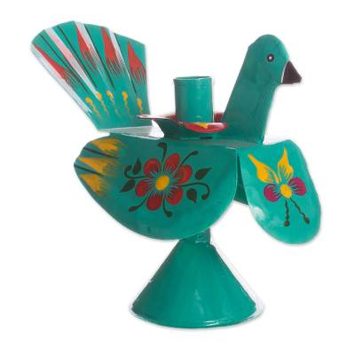Recycled Metal Peacock Candle Holder in Aqua from Peru