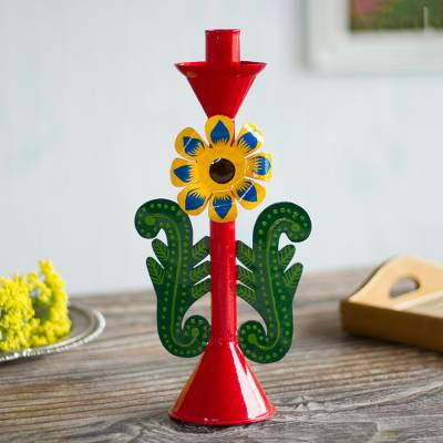 Recycled metal candle holder, 'Margarita Beauty in Red' - Recycled Metal Flower Candle Holder in Red from Peru