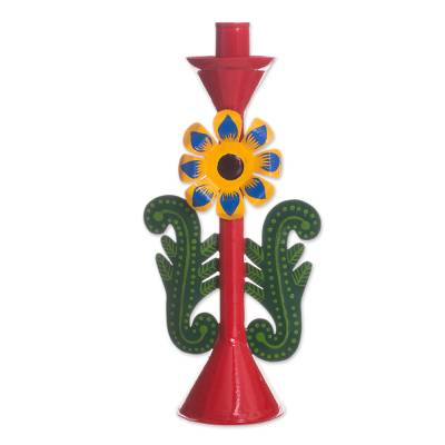 Recycled Metal Flower Candle Holder in Red from Peru