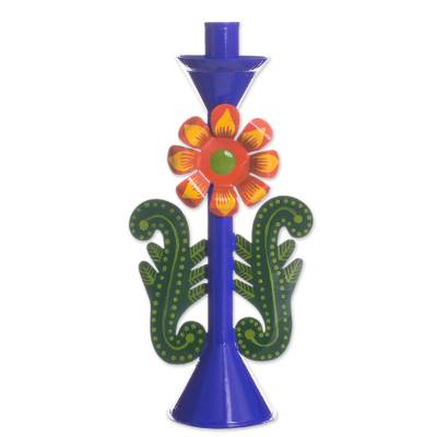 Recycled Metal Flower Candle Holder in Blue from Peru