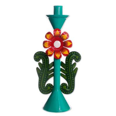Recycled Metal Flower Candle Holder in Aqua from Peru
