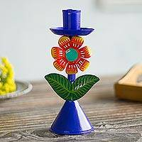 Recycled metal candle holder, 'Highland Flower' - Floral Recycled Metal Candle Holder in Blue from Peru