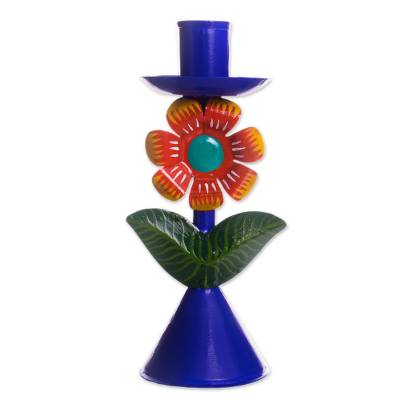 Floral Recycled Metal Candle Holder in Blue from Peru