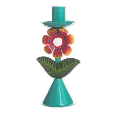 Floral Recycled Metal Candle Holder in Aqua from Peru