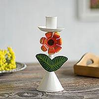Recycled metal candle holder, 'Delightful Flower in White' - Floral Recycled Metal Candle Holder in White from Peru