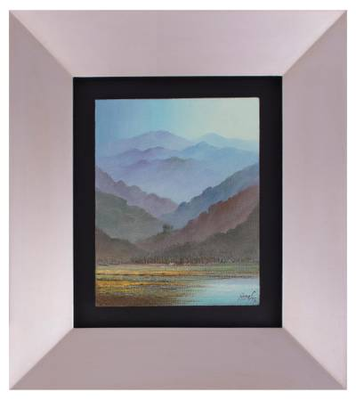 'Andean Sunrise' - Signed Framed Impressionist Mountain Painting from Peru