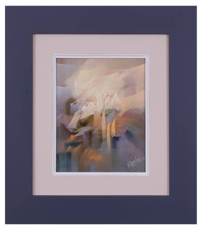 'Animation of Forms' - Signed Framed Abstract Painting from Peru