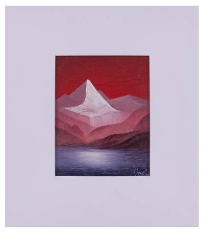 'Huascaran Aesthetic' - Red and Blue Framed Mountain Painting from Peru