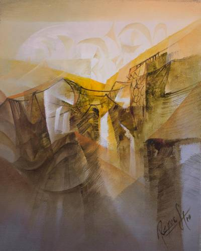'Lines and Forms' - Signed Abstract Painting in Yellow and Beige from Peru