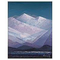 'Andean Mountain Range' - Signed Impressionist Andean Mountain Range Painting