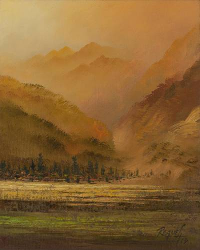 'Ayacucho' - Signed Impressionist Mountain Range Painting in Brown