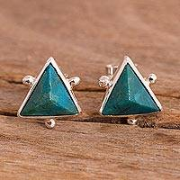 Chrysocolla stud earrings, 'Green Pyramids' - Chrysocolla Pyramid Stud Earrings from Peru
