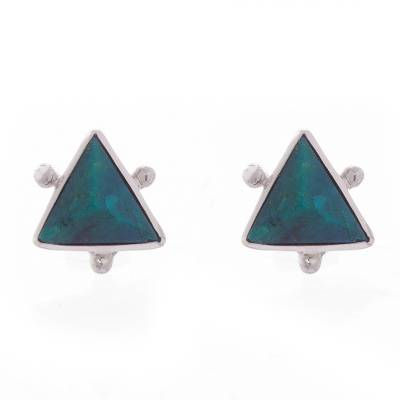 Chrysocolla Pyramid Stud Earrings from Peru