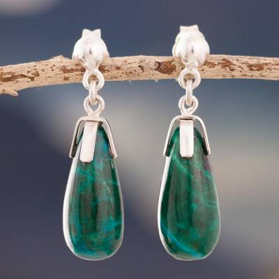 Chrysocolla dangle earrings, 'Teardrop Cradle' - Teardrop Chrysocolla Dangle Earrings from Peru