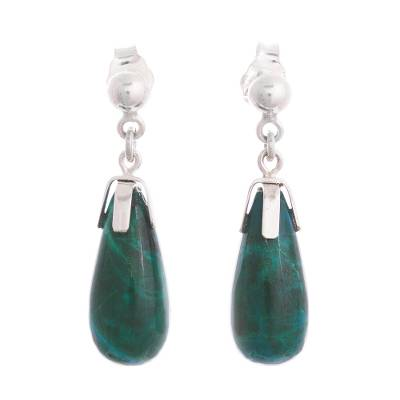 Teardrop Chrysocolla Dangle Earrings from Peru