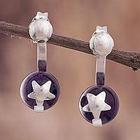 Amethyst drop earrings, 'Starry Galaxy' - Star Motif Purple Amethyst Drop Earrings from Peru
