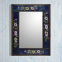 Reverse-painted glass wall mirror, 'Sweet Floral Ocean' - Blue Floral Reverse-Painted Glass Wall Mirror from Peru