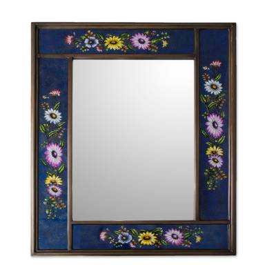 Blue Floral Reverse-Painted Glass Wall Mirror from Peru