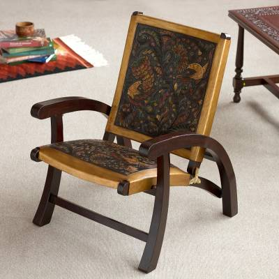 Leather and wood chair, 'Colonial Royalty' - Hand-Tooled Leather and Mohena Wood Chair from Peru