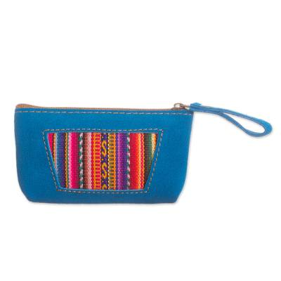 Wool Accented Turquoise Suede Coin Purse from Peru
