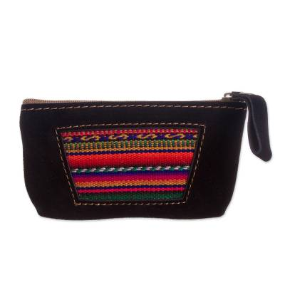Wool Accented Black Suede Coin Purse from Peru
