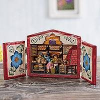 Wood and ceramic retablo, 'The Bread Shop' - Wood and Ceramic Retablo of a Bread Shop from Peru