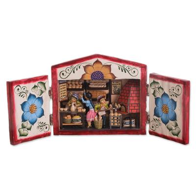 Wood and ceramic retablo, 'The Bread Shop' - Wood and Ceramic Retablo of a Bread Shop from Peru