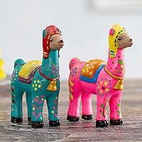 Peru Folk art handpainted in ceramic Peruvian sculpture by hand Couple Llama Ceramic Figurine 5.3 Tall Couple red Llama Figurine Pottery Sculpture llama