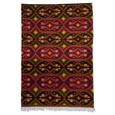 Bird Motif Handwoven Wool Tapestry from Peru