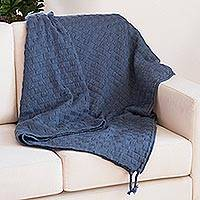 Alpaca blend throw, 'Checked Pattern' - Checked Alpaca Blend Throw in Denim from Peru