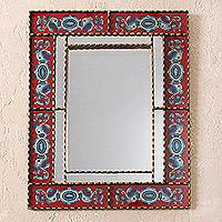 Reverse-painted glass wall mirror, 'Blue Medallions' - Rectangular Blue and Red Reverse-Painted Glass Wall Mirror
