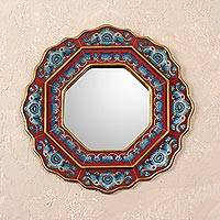 Reverse-painted glass wall mirror, 'Afternoon Star' - Blue and Red Reverse-Painted Glass Wall Mirror from Peru