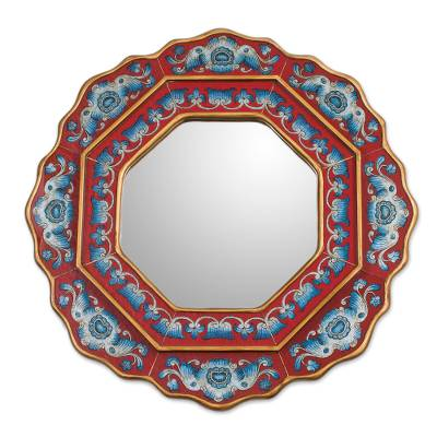 Blue and Red Reverse-Painted Glass Wall Mirror from Peru