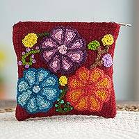 Wool coin purse, 'Cherry Garden' - Floral Embroidered Wool Coin Purse in Cherry from Peru