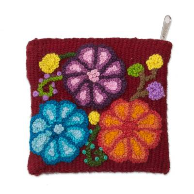 Floral Embroidered Wool Coin Purse in Cherry from Peru