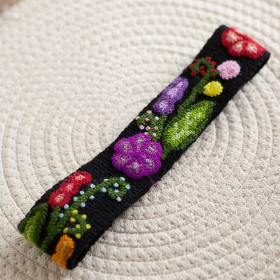 Wool headband, 'Distinct Bouquet' - Colorful Floral Embroidered Wool Headband from Peru