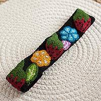 Wool headband, 'Flowers and Strawberries' - Floral and Strawberry Pattern Wool Headband from Peru
