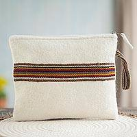 100% alpaca wristlet, 'Peruvian Stripes in Eggshell' - Striped 100% Alpaca Wristlet in Eggshell from Peru
