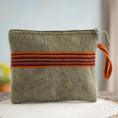 100% alpaca clutch, 'Peruvian Stripes in Avocado' - Striped 100% Alpaca Clutch in Avocado from Peru