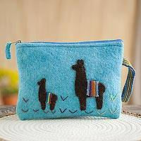 100% alpaca clutch, 'Dark Llamas in Turquoise' - Turquoise 100% Alpaca Clutch with Dark Llama Patchwork