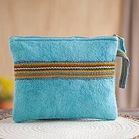 100% alpaca wristlet, 'Peruvian Stripes in Turquoise' - Striped 100% Alpaca Wristlet in Turquoise from Peru