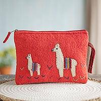 100% alpaca clutch, ' - Strawberry 100% Alpaca Clutch with Bright Llama Patchwork
