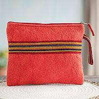 100% alpaca clutch, 'Peruvian Stripes in Strawberry' - Striped 100% Alpaca Clutch in Strawberry from Peru