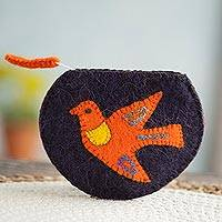 100% alpaca clutch, 'Pumpkin Dove' - Bird Pattern 100% Alpaca Clutch from Peru