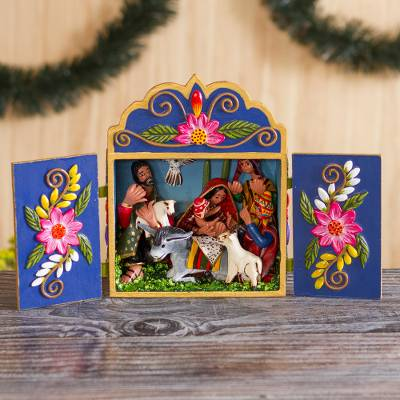 Wood and ceramic retablo, 'Wonderful Nativity' - Wood and Ceramic Nativity Scene Retablo from Peru