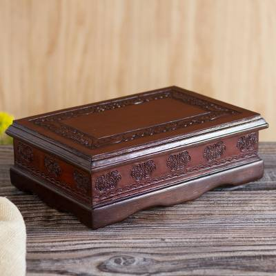 Leather and wood jewelry box, Colonial Delight