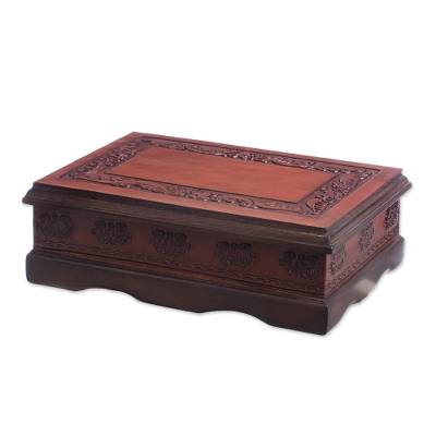 Leather and wood jewelry box, 'Colonial Delight' - Colonial Leather and Wood Jewelry Box from Peru