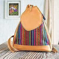 Leather accented wool blend backpack, 'Raymi Stripes' - Striped Leather Accented Wool Blend Backpack from Peru